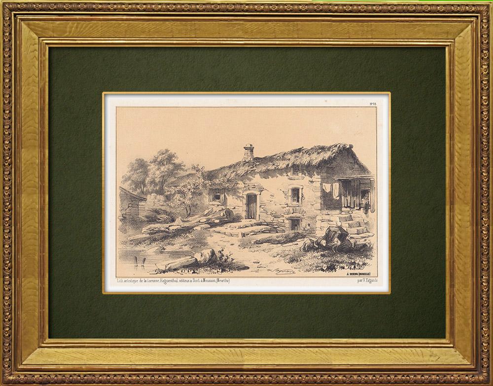 Gravures Anciennes & Dessins   Vue de Diding - Freistroff - Moselle - Lorraine (France)   Lithographie   1856