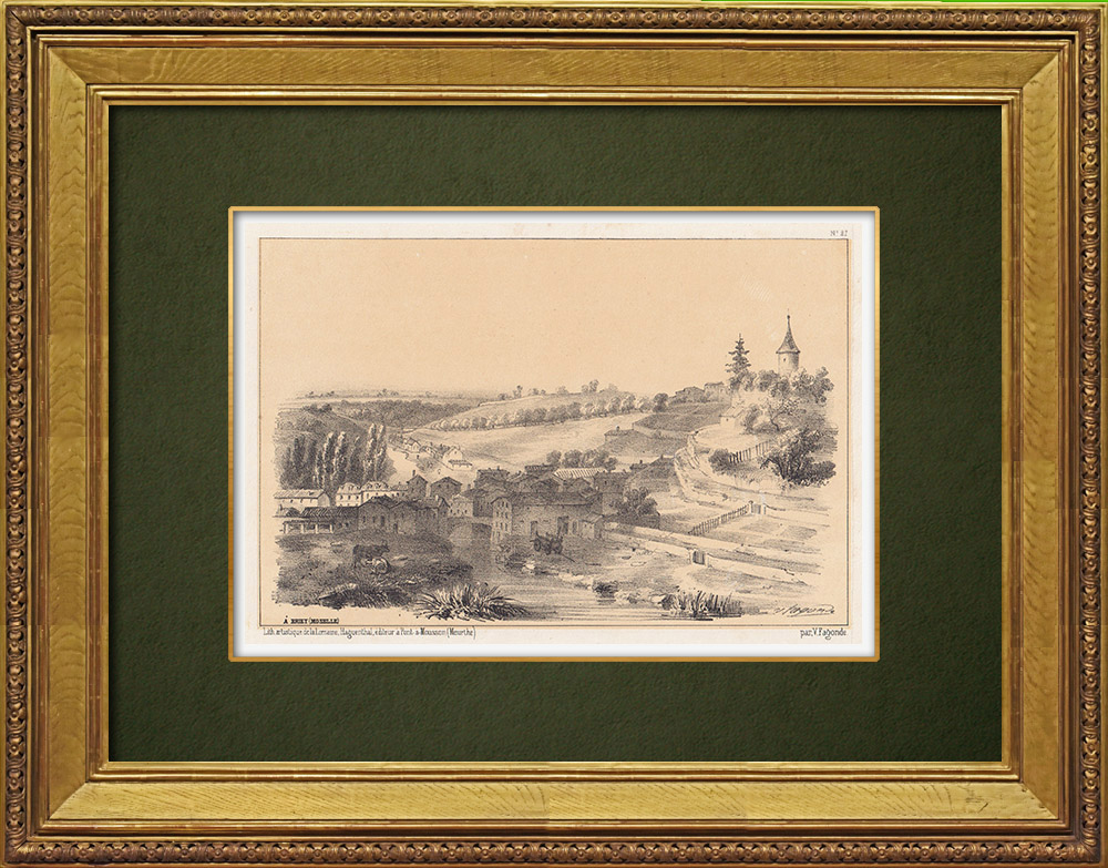 Gravures Anciennes & Dessins   Vue de Briey - Plan d'eau de la Sangsue - Meurthe-et-Moselle (France)   Lithographie   1856