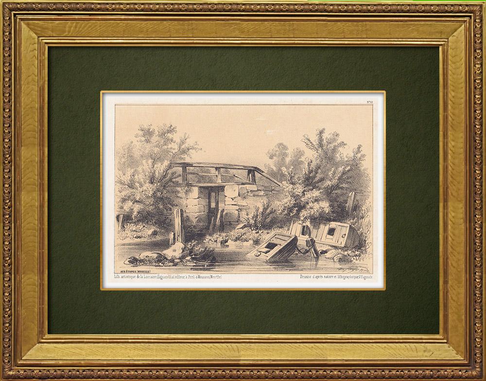 Gravures Anciennes & Dessins   Vue de Les Étangs - Nied - Moselle (France)   Lithographie   1856