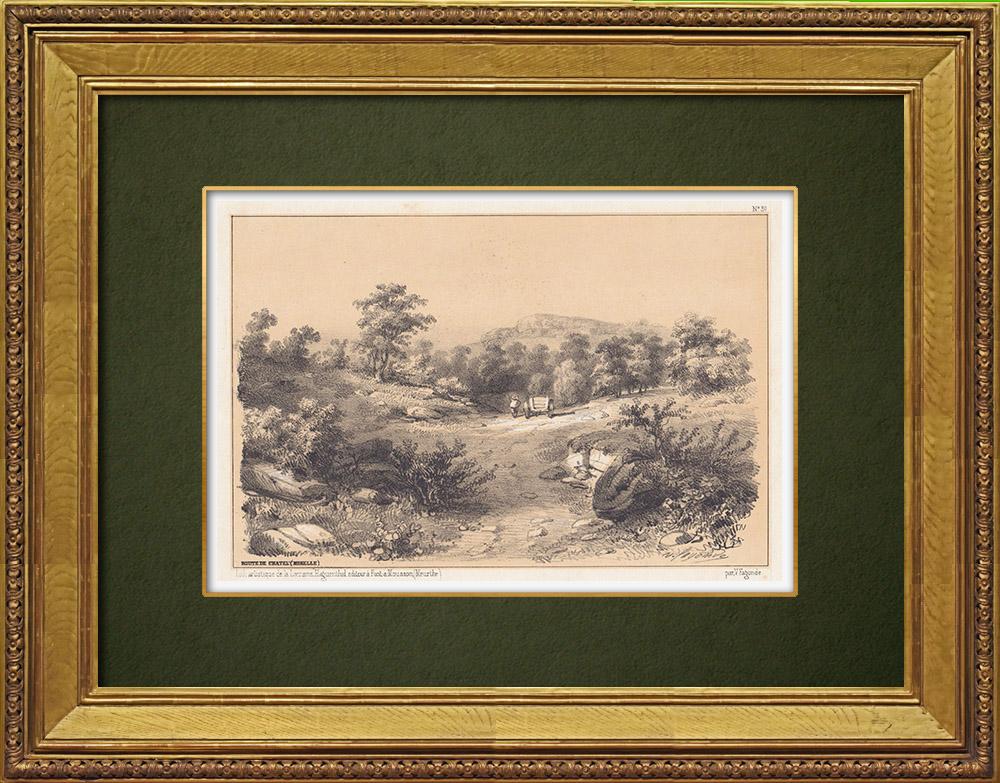 Gravures Anciennes & Dessins | Vue de Châtel - Vosges - Lorraine (France) | Lithographie | 1856