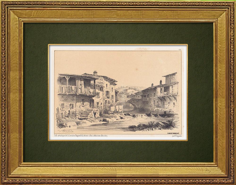 Gravures Anciennes & Dessins   Vue de Briey - Woigot - Meurthe-et-Moselle (France)   Lithographie   1856