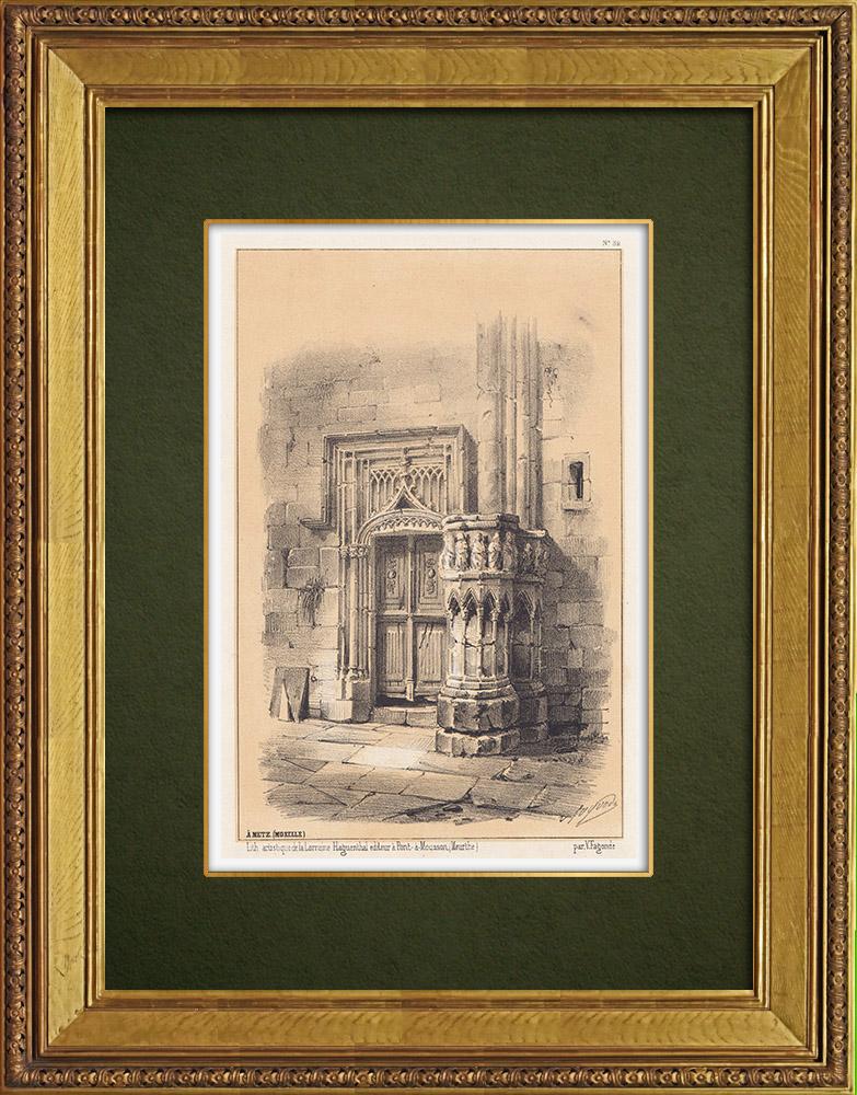 Gravures Anciennes & Dessins | Vue de Metz - Architecture - Moselle (France) | Lithographie | 1856