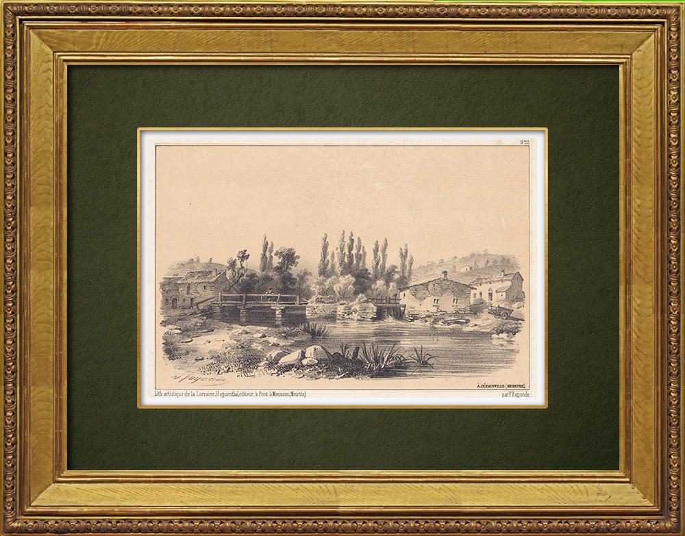 Gravures Anciennes & Dessins | Vue de Jezainville - Vallée de l'Esch - Lorraine - Meurthe-et-Moselle (France) | Lithographie | 1856
