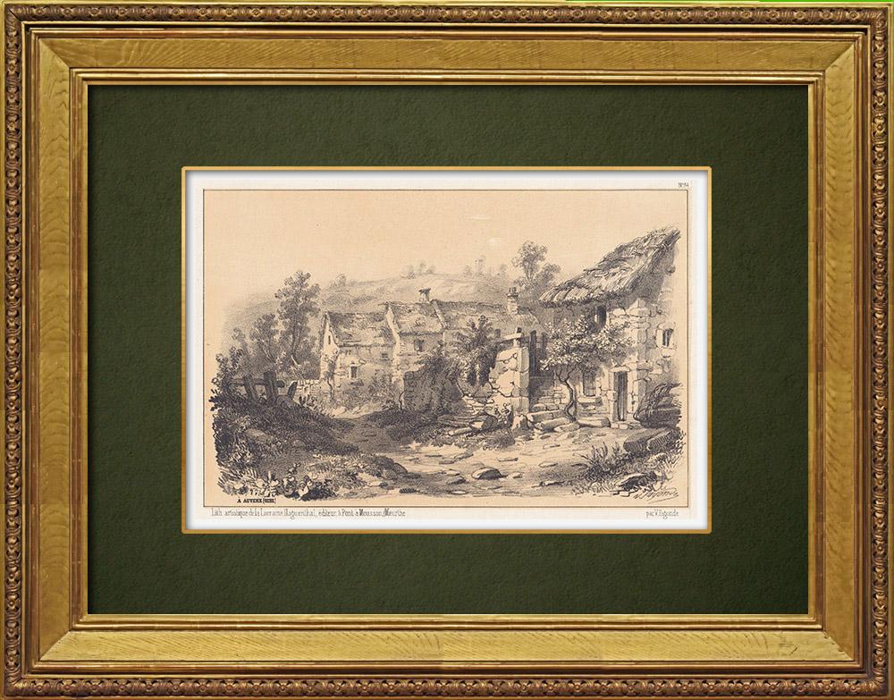 Gravures Anciennes & Dessins   Paysage de Auvers - Auvers-sur-Oise - Ile de France - Val-d'Oise (France)   Lithographie   1856