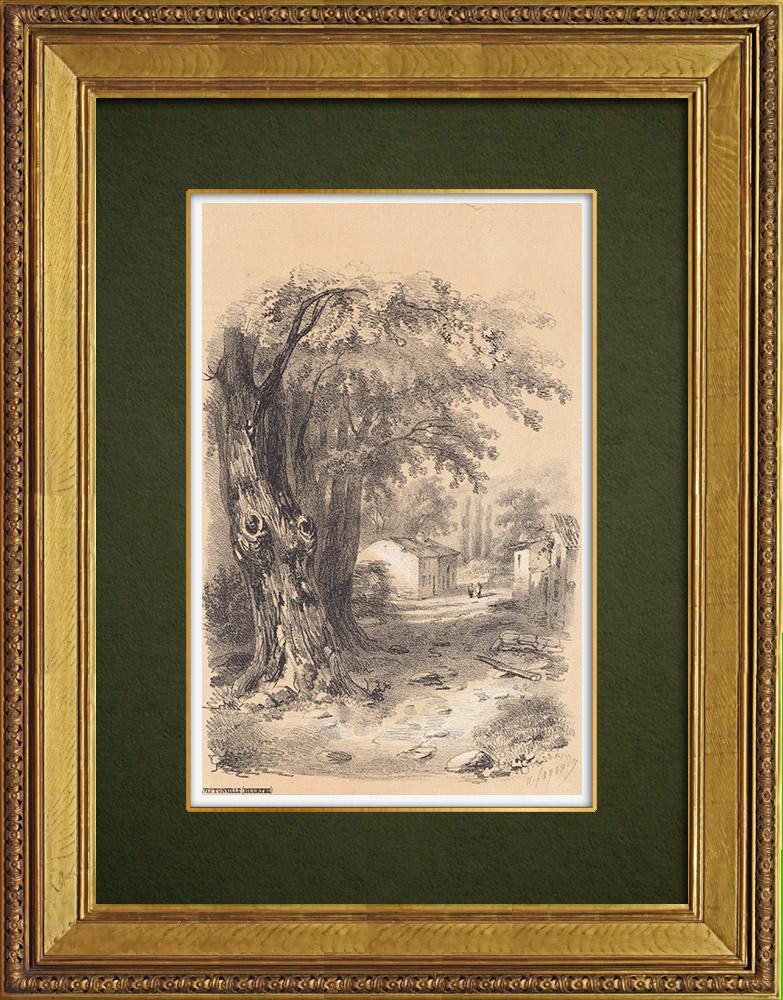 Gravures Anciennes & Dessins | Vue de Vittonville - Lorraine - Meurthe-et-Moselle (France) | Lithographie | 1856