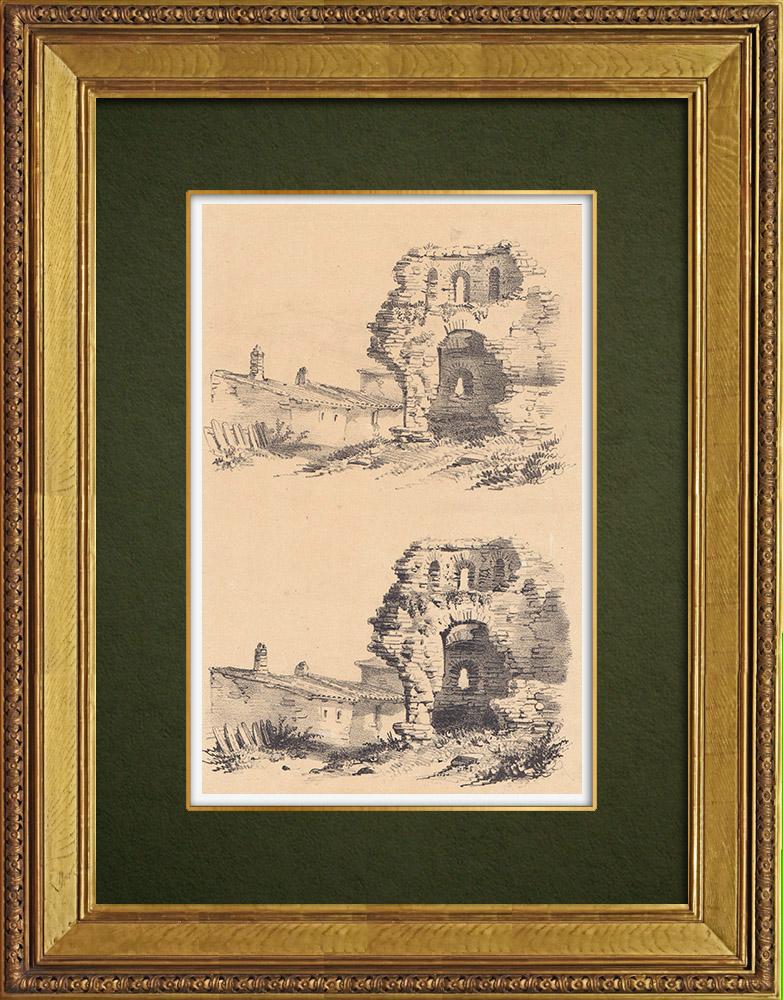 Gravures Anciennes & Dessins | Vue de Lorraine - Maisons en ruines (France) | Lithographie | 1856