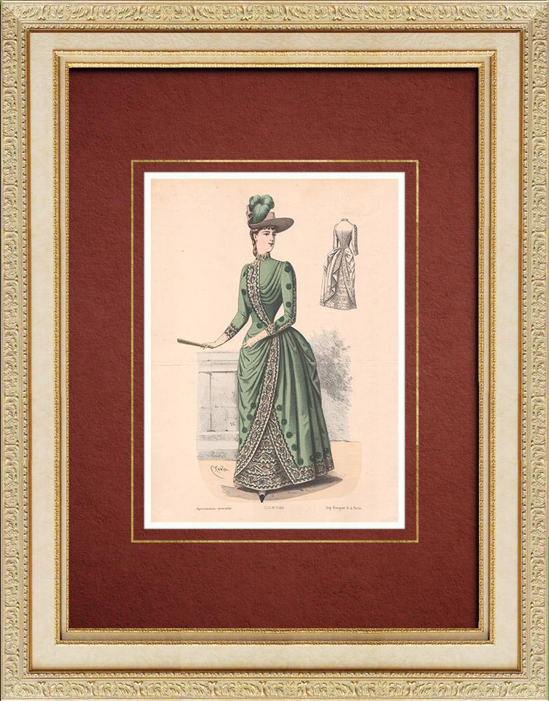 Gravures Anciennes & Dessins | Gravure de Mode - Paris - La Couturière - 1888 - Modèle 350 | Lithographie | 1888