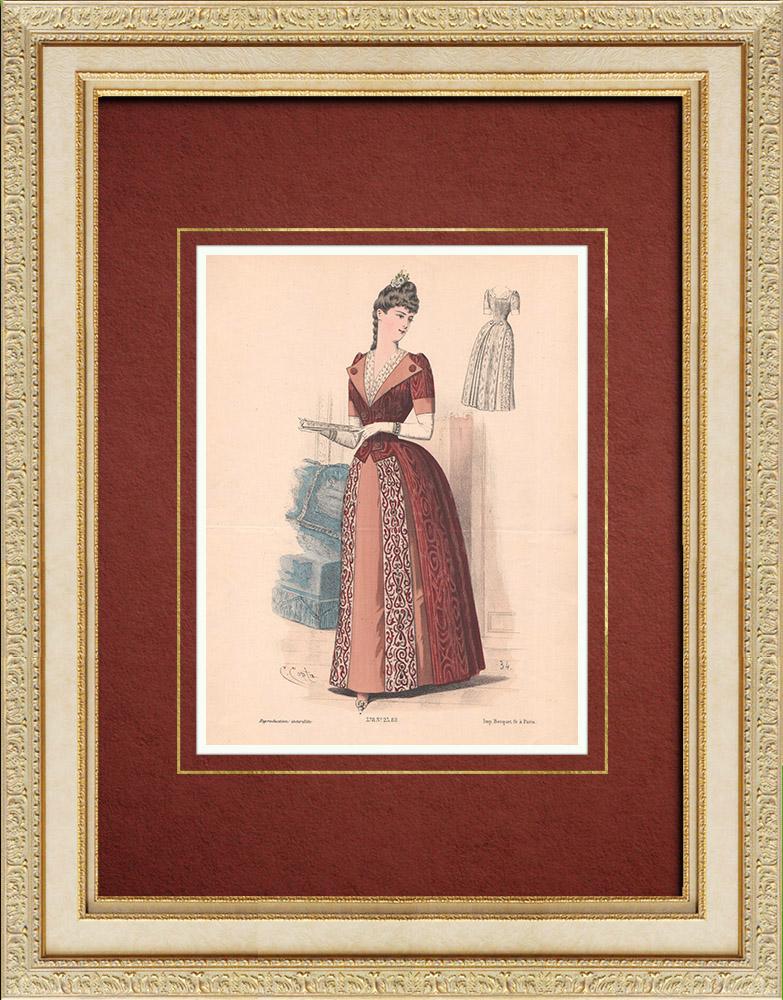 Gravures Anciennes & Dessins | Gravure de Mode - Paris - La Couturière - 1888 - Modèle 378 | Lithographie | 1888