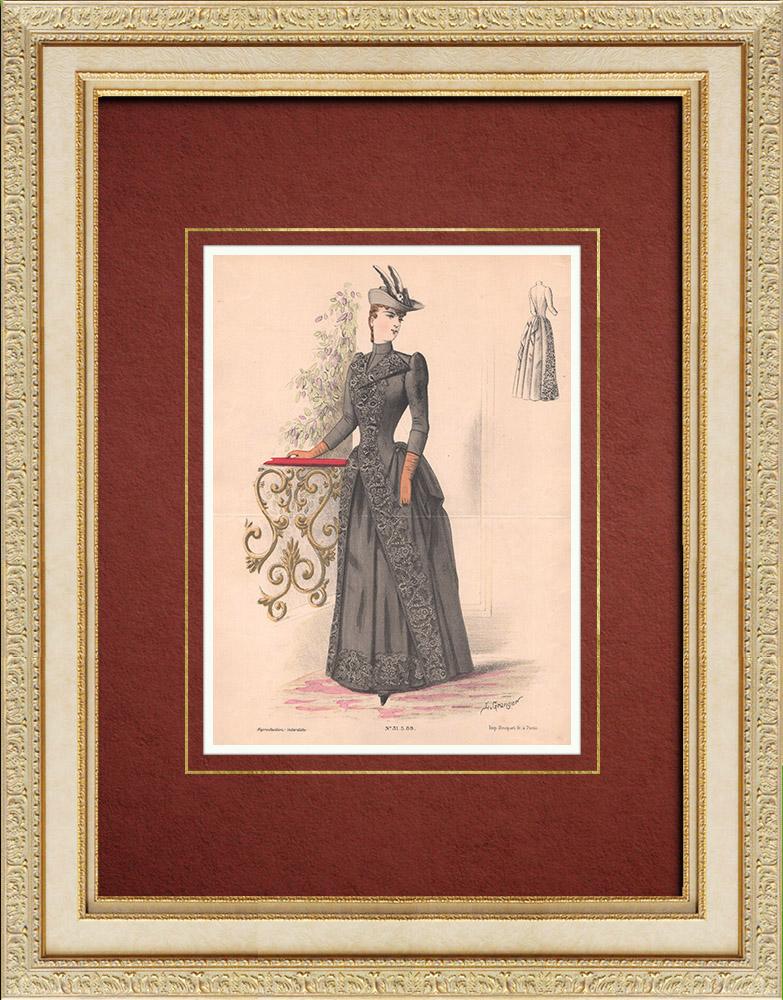 Gravures Anciennes & Dessins | Gravure de Mode - Paris - La Couturière - 1889 - Modèle 31 | Lithographie | 1889