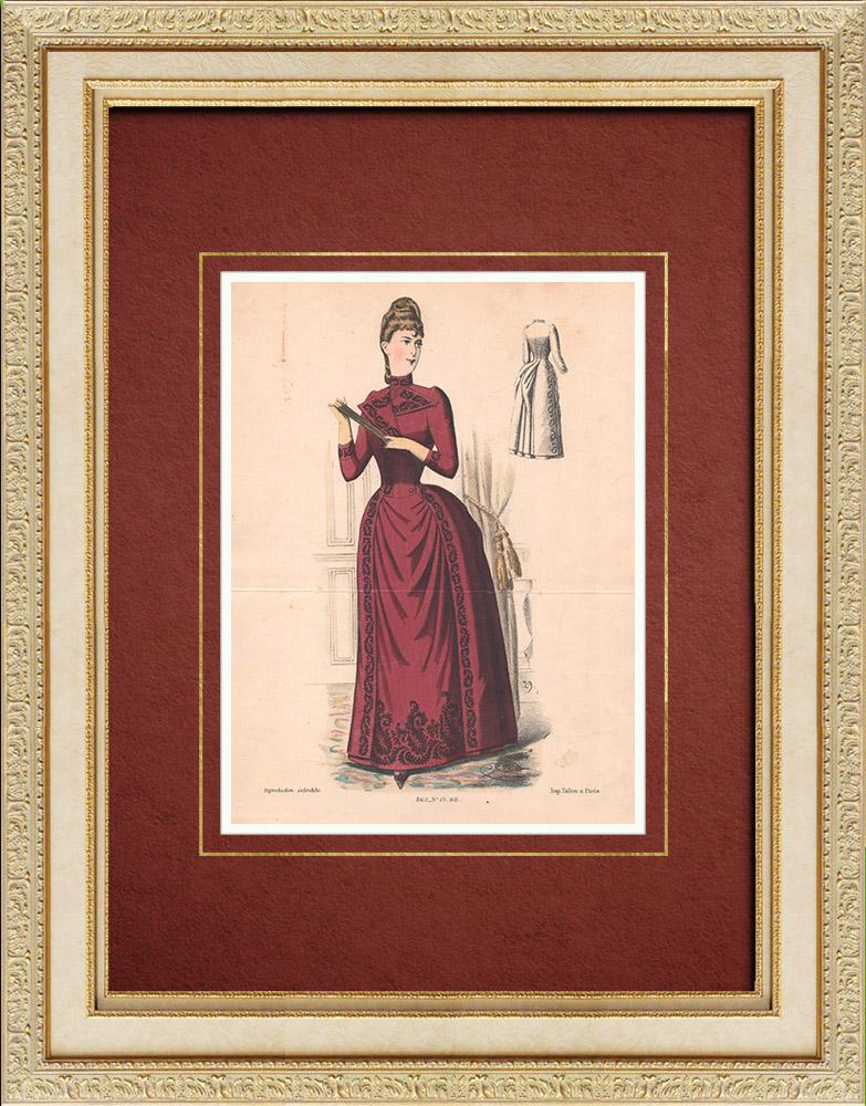 Gravures Anciennes & Dessins | Gravure de Mode - Paris - La Couturière - 1888 - Modèle 19 | Lithographie | 1888