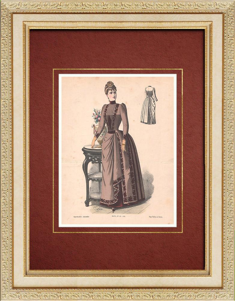 Gravures Anciennes & Dessins   Gravure de Mode - Paris - La Couturière - 1888 - Modèle 363-19   Lithographie   1888