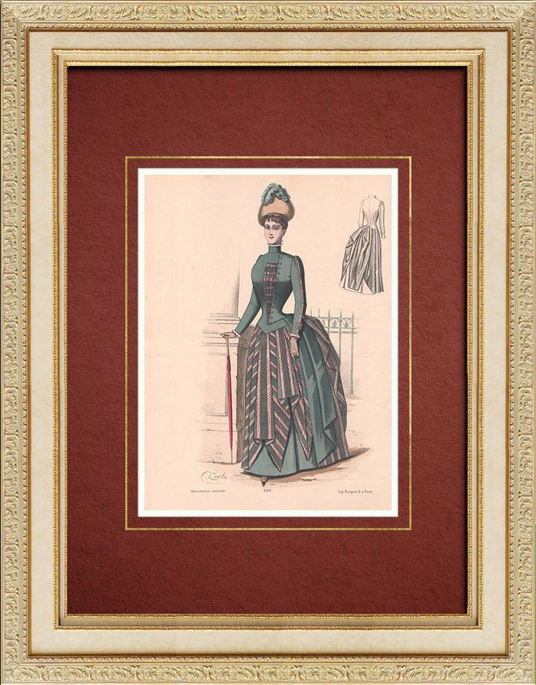 Gravures Anciennes & Dessins   Gravure de Mode - Paris - La Couturière - 1888 - Modèle 299   Lithographie   1888