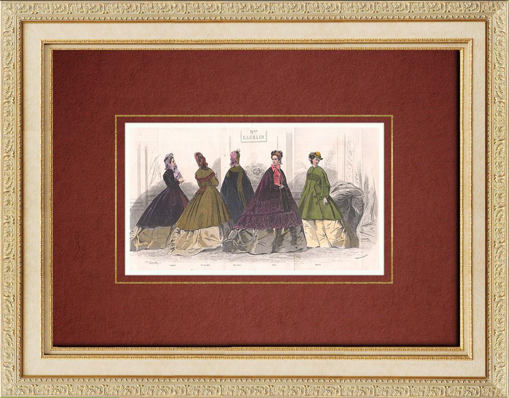 Gravures Anciennes & Dessins | Gravure de Mode - Paris - Maison Gagelin - Fathura - Fenella - Regina - Bluet - Spahis | Taille-douce | 1850