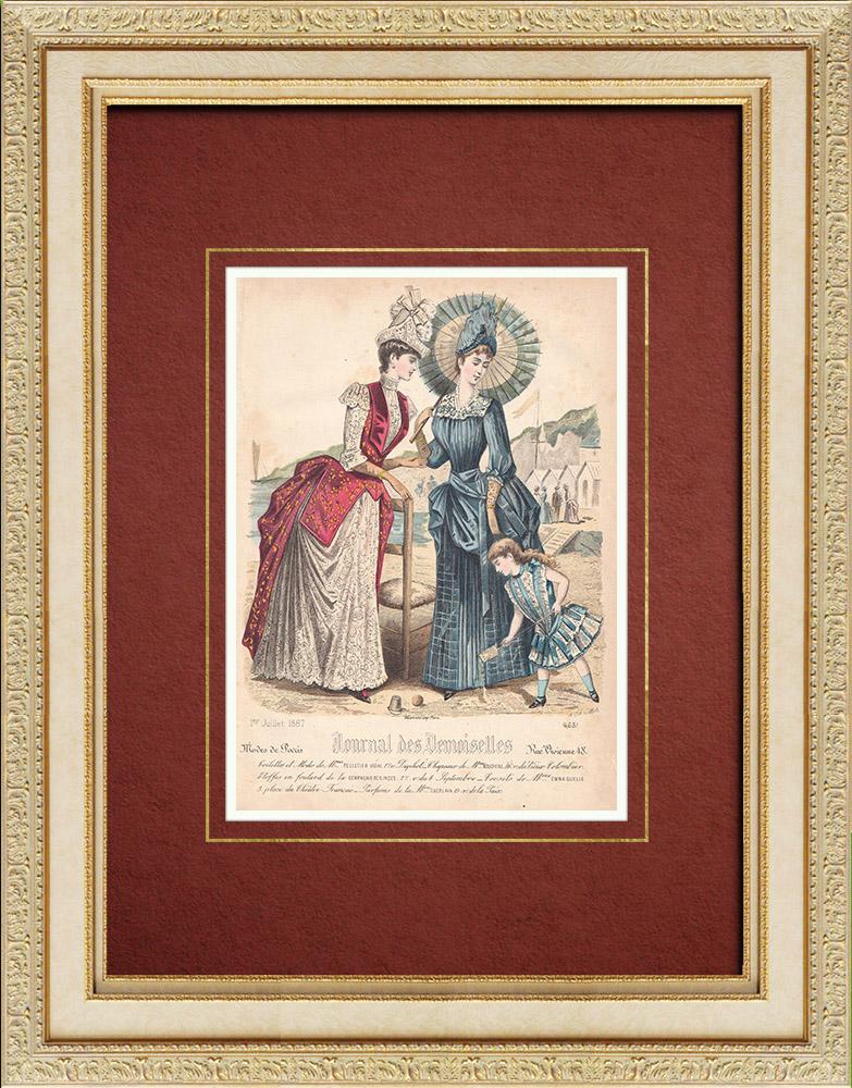 Gravures Anciennes & Dessins | Gravure de Mode - Paris - Mme Pelletier Vidal - Compagnie des Indes | Taille-douce | 1887