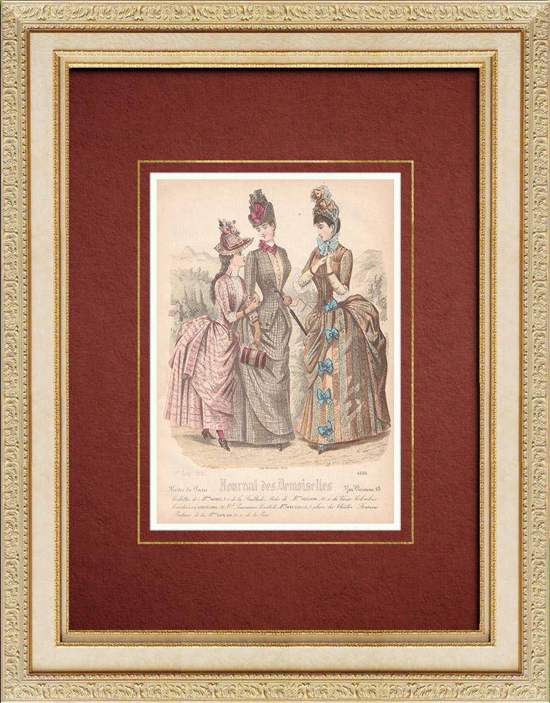 Gravures Anciennes & Dessins | Gravure de Mode - Paris - Mme Raybois - Mme Boucherie - Emma Guelle | Taille-douce | 1887