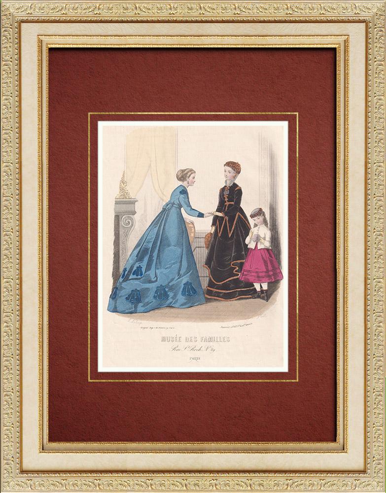 Gravures Anciennes & Dessins | Gravure de Mode - Paris - Musée des Familles - Janvier 1868 | Taille-douce | 1866
