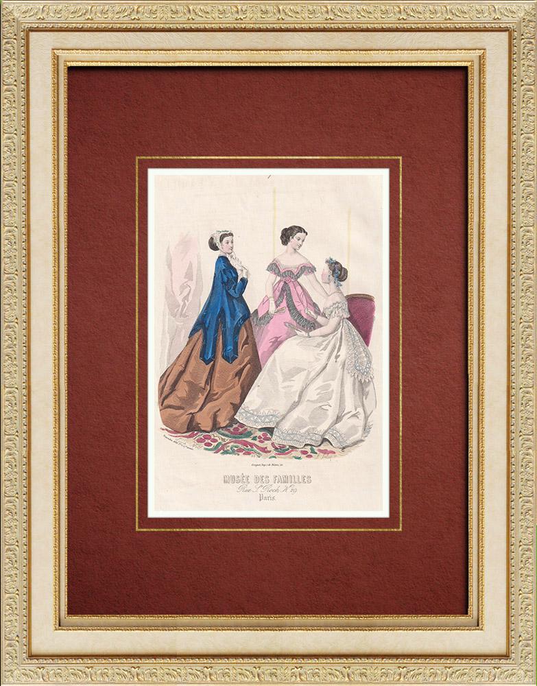 Gravures Anciennes & Dessins | Gravure de Mode - Paris - Musée des Familles - Novembre 1866 | Taille-douce | 1866