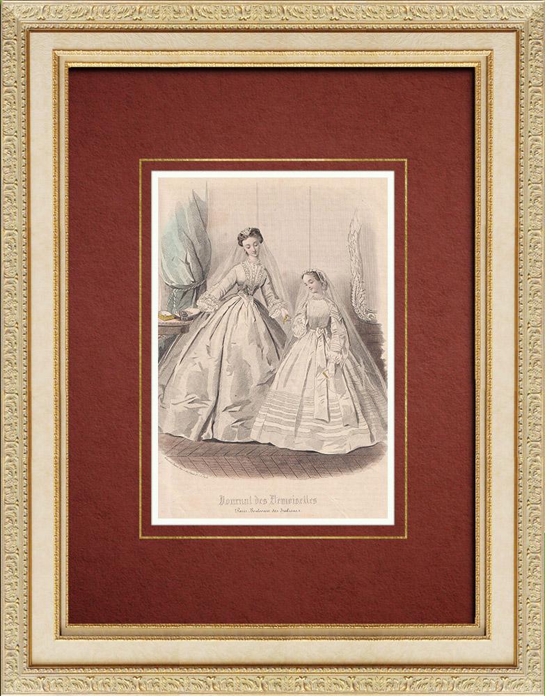 Gravures Anciennes & Dessins | Gravure de Mode - Paris - Journal des Demoiselles | Taille-douce | 1860