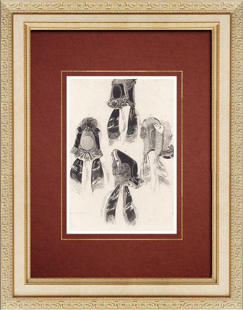 Gravures Anciennes & Dessins   Gravure de Mode - Paris - Journal des Soirées de Famille   Taille-douce   1860