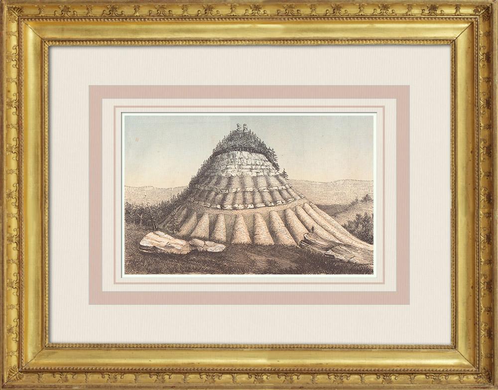 Gravures Anciennes & Dessins   Montagne près de Tucumcari - Quay - Nouveau-Mexique (États-Unis)   Taille-douce   1860