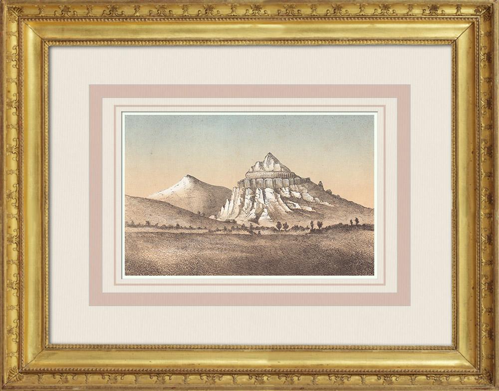 Gravures Anciennes & Dessins   Vue des Montagnes Wichita - Oklahoma (États-Unis)   Gravure sur bois   1860