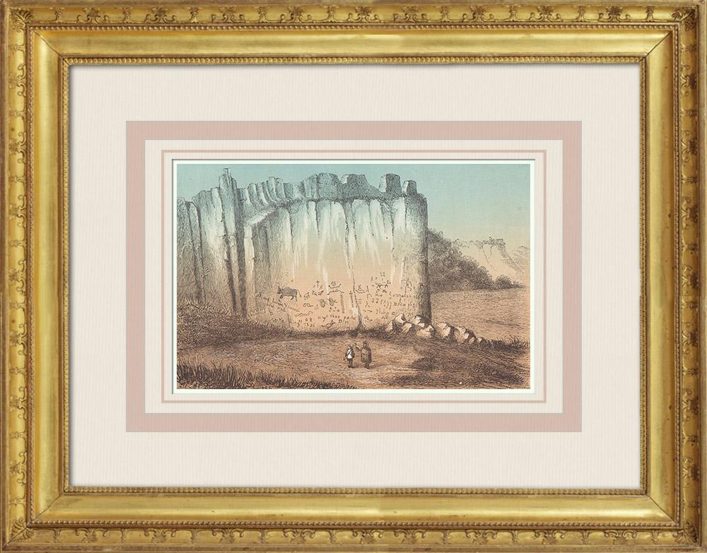Gravures Anciennes & Dessins | Rocher des Hiéroglyphes El Moro - Sierra Madre - Nouveau-Mexique (États-Unis d'Amérique) | Gravure sur bois | 1860