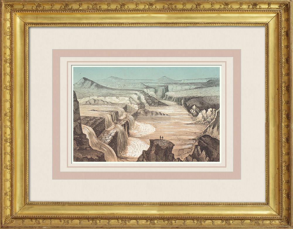 Gravures Anciennes & Dessins   Chutes du Petit Colorado - Arizona (États-Unis d'Amérique)   Gravure sur bois   1860
