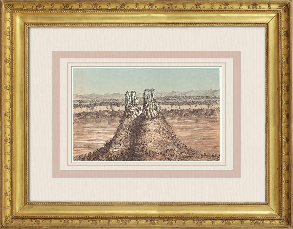 Gravures Anciennes & Dessins   Tours basaltiques - Rivière Umatilla - Fort Wahlah-Wahlah - Oregon (États-Unis d'Amérique)   Gravure sur bois   1860