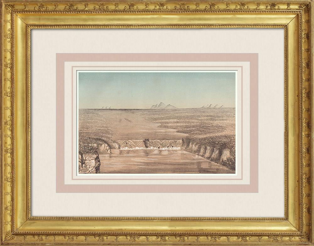 Gravures Anciennes & Dessins | Chutes du Fleuve Columbia - Mont Hood (États-Unis d'Amérique) | Gravure sur bois | 1860