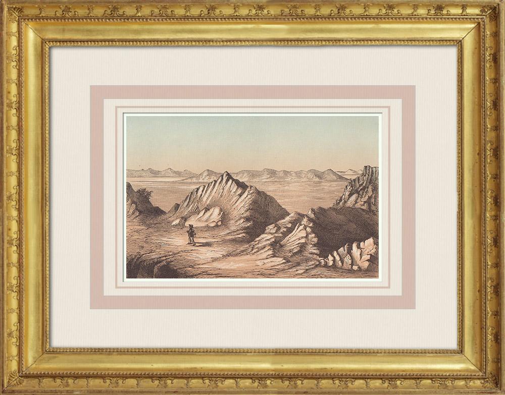 Gravures Anciennes & Dessins   Grand Lac Salé - îles - Utah (États-Unis d'Amérique)   Gravure sur bois   1860