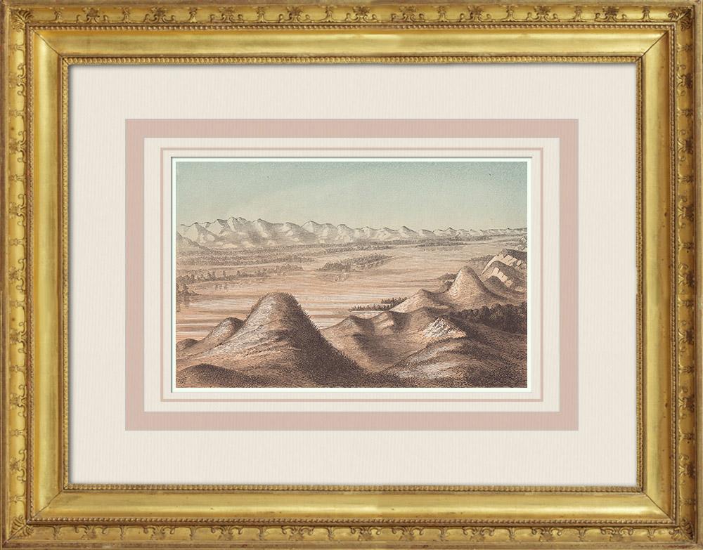 Gravures Anciennes & Dessins | Vue du Minnesota - Roches volcaniques (États-Unis d'Amérique) | Gravure sur bois | 1860
