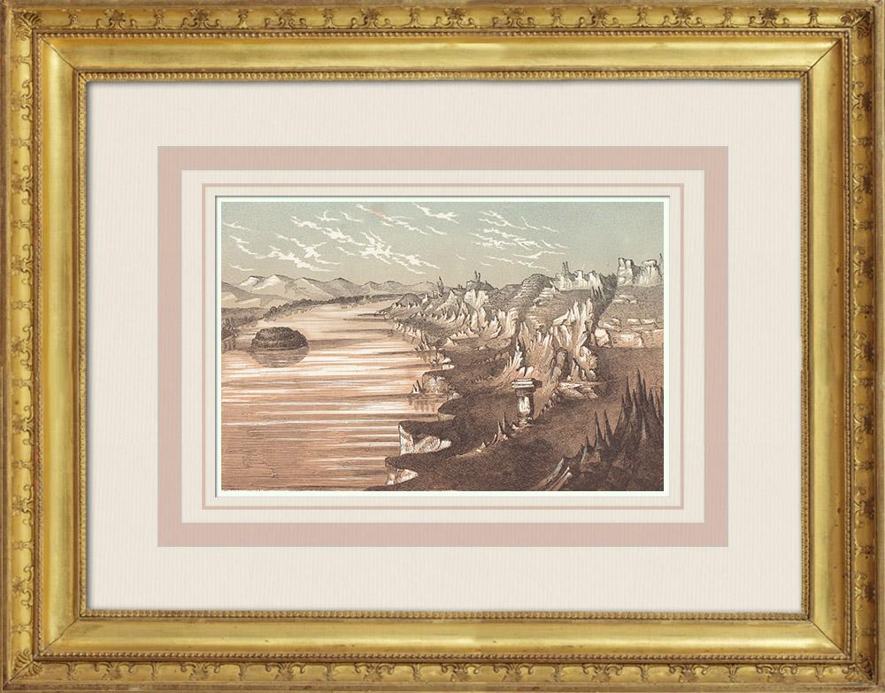 Gravures Anciennes & Dessins | Vue du Haut Mississipi - Couches sédimentaires (États-Unis d'Amérique) | Gravure sur bois | 1860