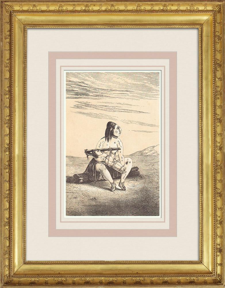 Gravures Anciennes & Dessins | Indiens d'Amérique - Femme Chinouk (États-Unis d'Amérique) | Gravure sur bois | 1860