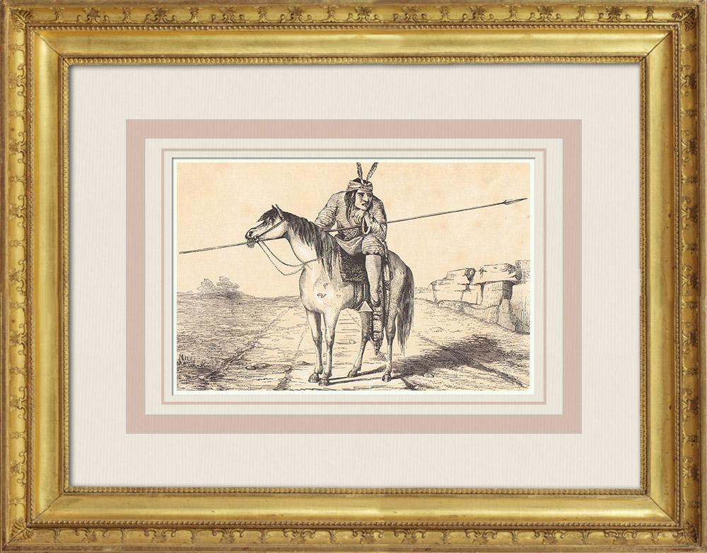Gravures Anciennes & Dessins | Comanche - Amérindien - Costume (États-Unis d'Amérique) | Gravure sur bois | 1860