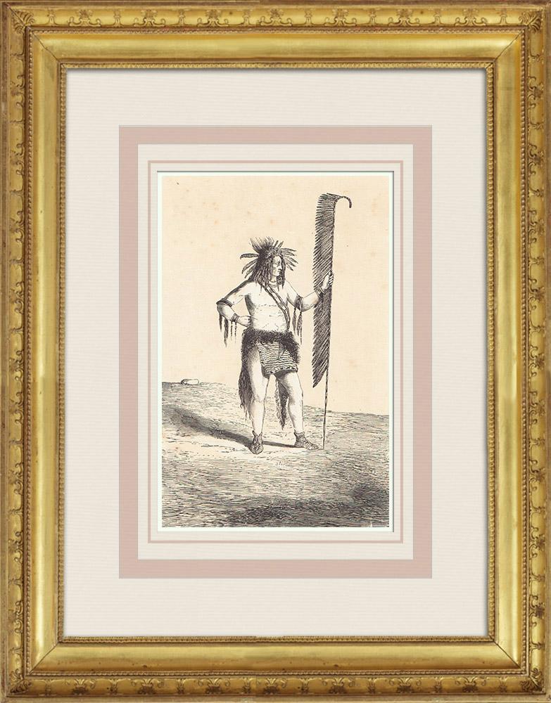 Gravures Anciennes & Dessins   Chippewa - Amérindien - Costume (États-Unis d'Amérique)   Gravure sur bois   1860