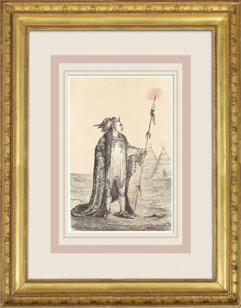 Gravures Anciennes & Dessins | Chef Corbeau - Amérindien - Costume (États-Unis d'Amérique) | Gravure sur bois | 1860