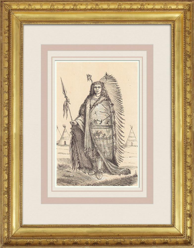 Gravures Anciennes & Dessins   Chef Dakota - Sioux - Amérindien - Costume (Amérique du nord)   Gravure sur bois   1860