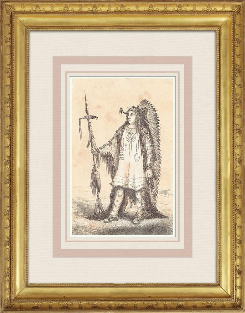 Gravures Anciennes & Dessins | Chef Mandan - Amérindien - Costume (États-Unis d'Amérique) | Gravure sur bois | 1860