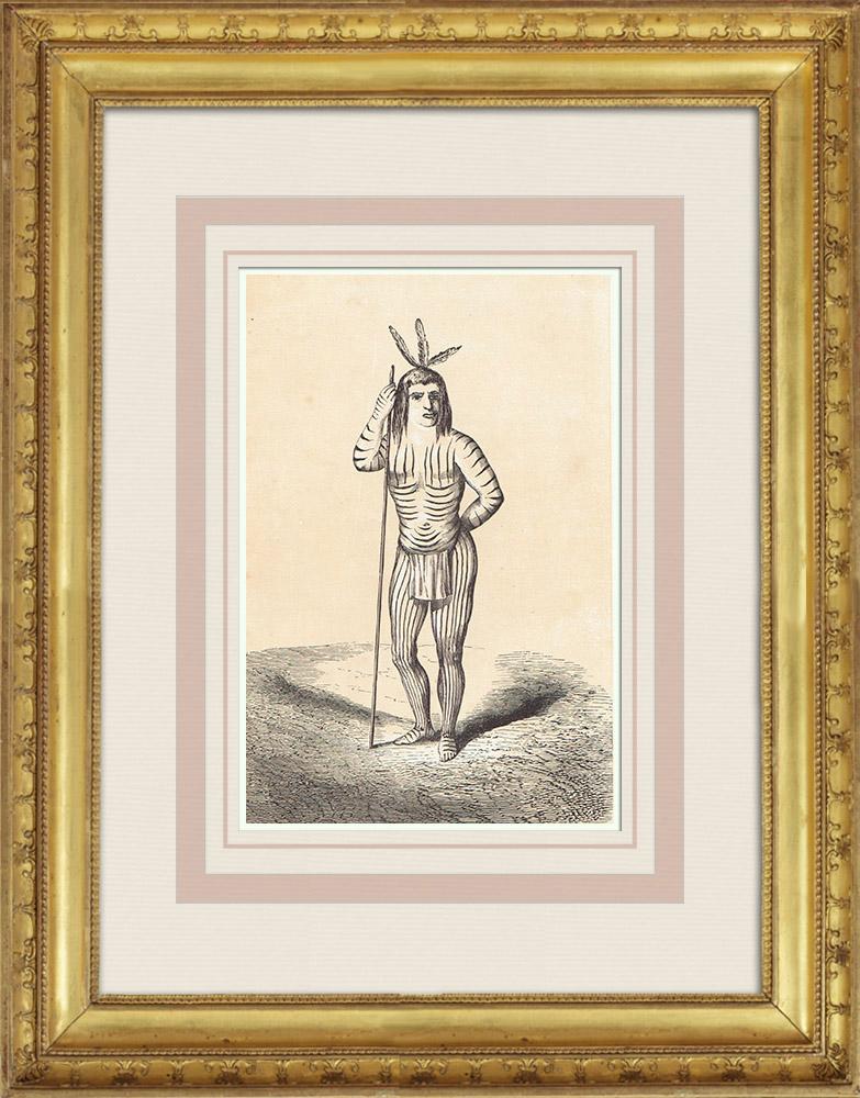 Gravures Anciennes & Dessins | Mojave - Amérindien - Désert des Mojaves - Costume (États-Unis d'Amérique) | Gravure sur bois | 1860