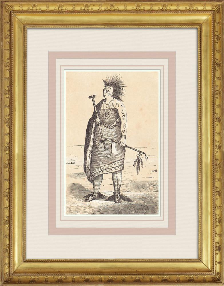 Gravures Anciennes & Dessins | Osage - Costume - Amérindien - Missouri - Oklahoma (États-Unis d'Amérique) | Gravure sur bois | 1860