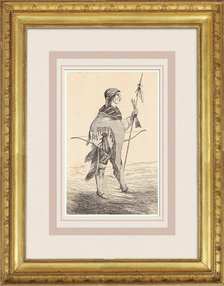 Gravures Anciennes & Dessins   Indien Pueblo - Amérindien - Nouveau-Mexique - Costume (États-Unis d'Amérique)   Gravure sur bois   1860