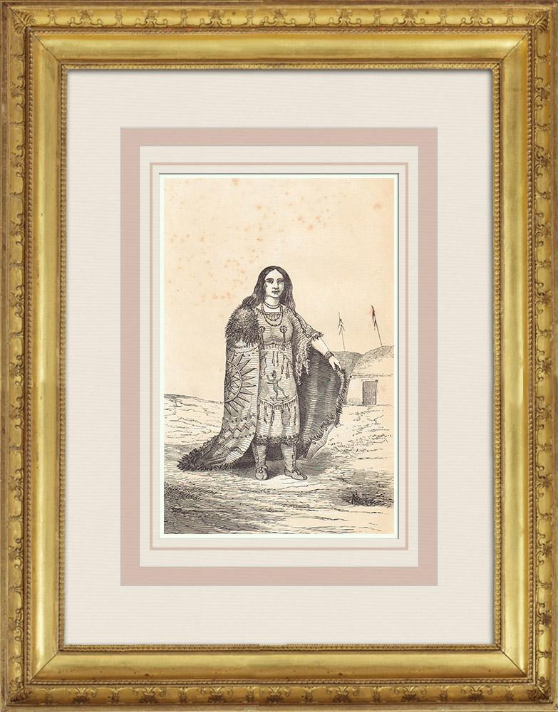 Gravures Anciennes & Dessins | Femme Indienne - Arizona (États-Unis d'Amérique) | Gravure sur bois | 1860