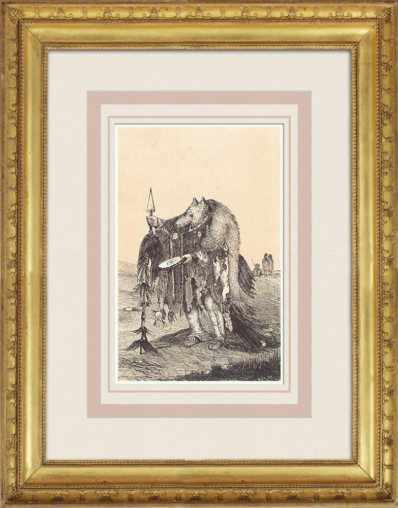 Gravures Anciennes & Dessins | Médecine - Amérindiens - Indiens d'Amérique - Costume - Peau d'ours (États-Unis d'Amérique) | Gravure sur bois | 1860