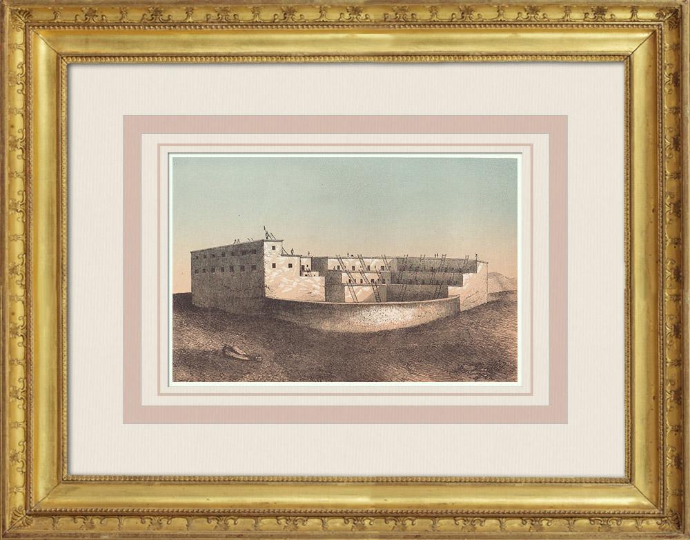 Gravures Anciennes & Dessins   Vue d'un Pueblo - Amérindiens - Réserve indienne - Nouveau-Mexique (États-Unis d'Amérique)   Gravure sur bois   1860