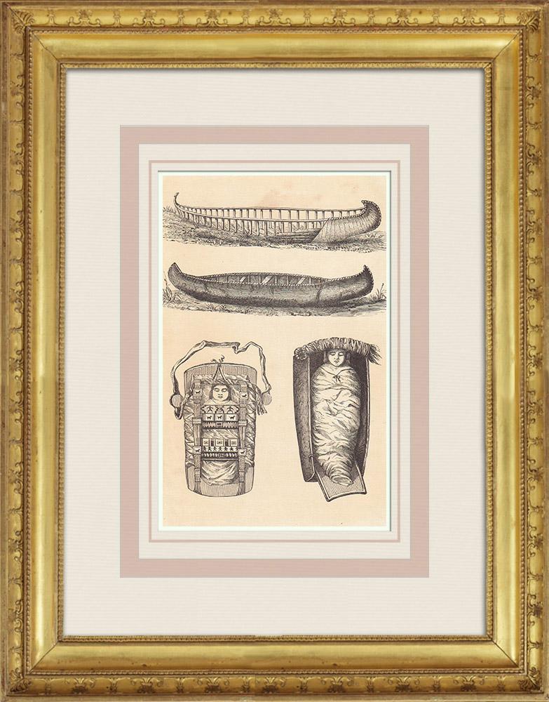 Gravures Anciennes & Dessins | Amérindiens - Indiens d'Amérique - Canots et Berceaux (États-Unis d'Amérique) | Gravure sur bois | 1860