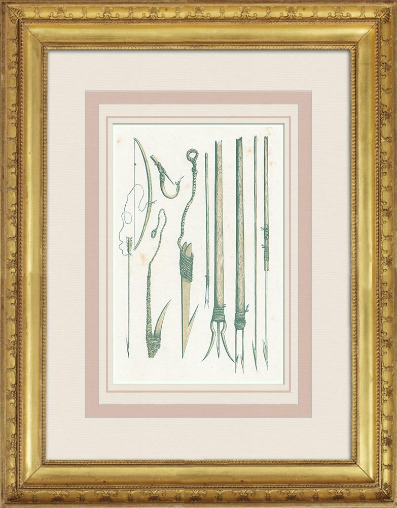 Gravures Anciennes & Dessins   Amérindiens - Indiens d'Amérique - Ustensiles de pêche - Fleuve Columbia (États-Unis d'Amérique)   Gravure sur bois   1860