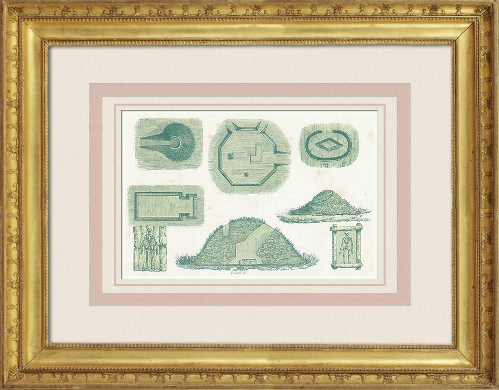 Gravures Anciennes & Dessins | Amérindiens - Indiens d'Amérique - Collines artificielles - Mississippi (États-Unis d'Amérique) | Gravure sur bois | 1860