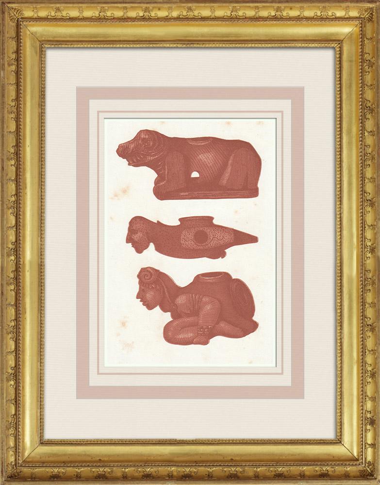Gravures Anciennes & Dessins   Art amérindien - Pipes antiques - Calumets   Gravure sur bois   1860