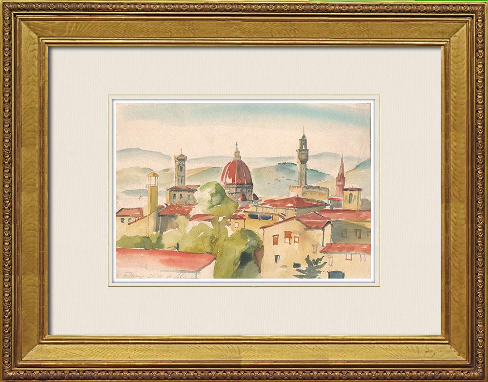 Gravures Anciennes & Dessins | Vue de Florence - Cathédrale Santa Maria del Fiore - Palazzo Vecchio - Toscane (Italie) | Aquarelle | 1951