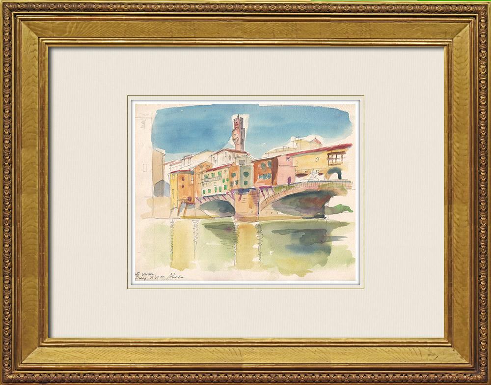 Gravures Anciennes & Dessins | Vue de Florence - Ponte Vecchio - Arno - Toscane (Italie) | Aquarelle | 1951